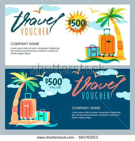 Vector Gift Travel Voucher Template Tropical Island Landscape