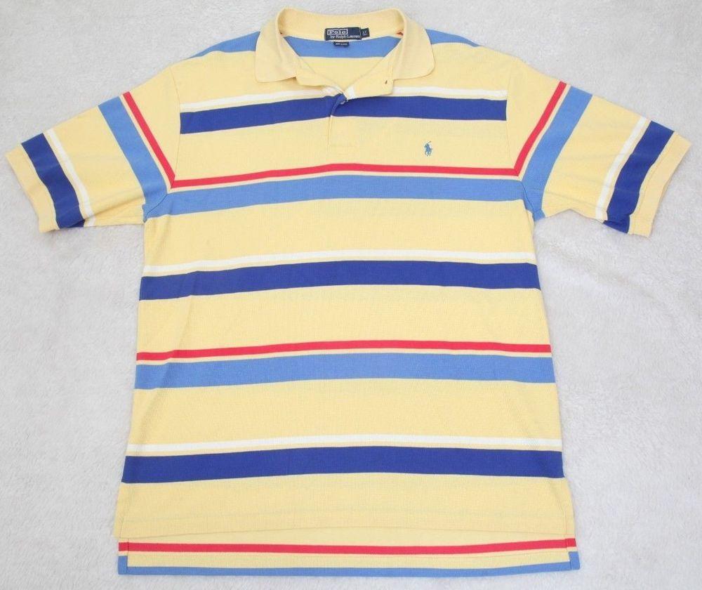 Ralph Lauren Polo Shirt Yellow Blue Large Tall Lt Short Sleeve