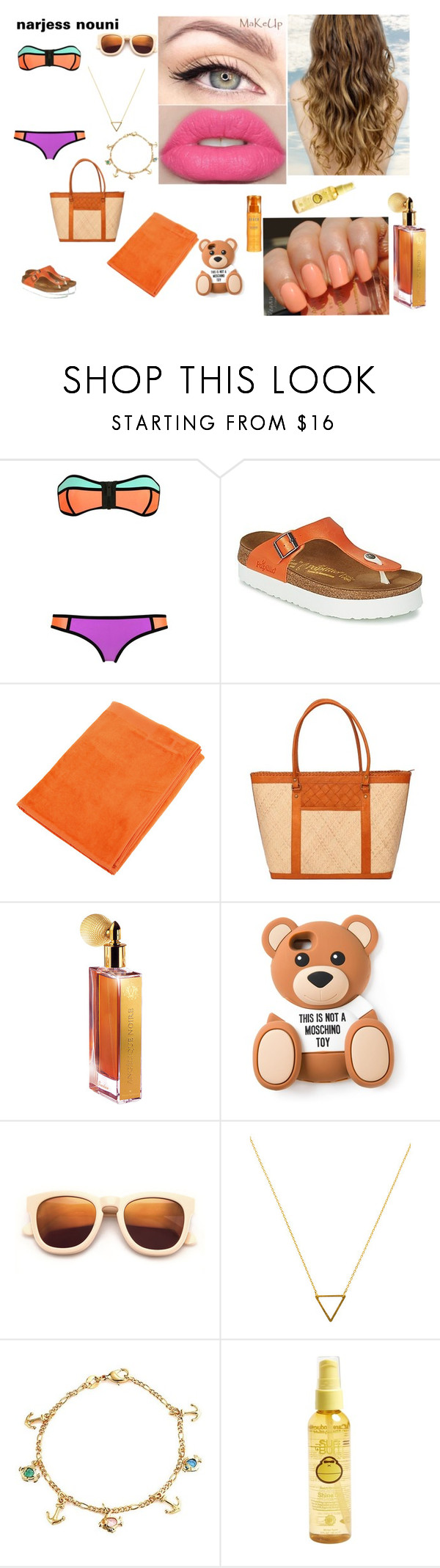 """""""Sans titre #303"""" by narjessnouni ❤ liked on Polyvore featuring Amira, Papillio, HUGO, TLC&you, Guerlain, Moschino, Wildfox, Wanderlust + Co, Bling Jewelry and Sun Bum"""