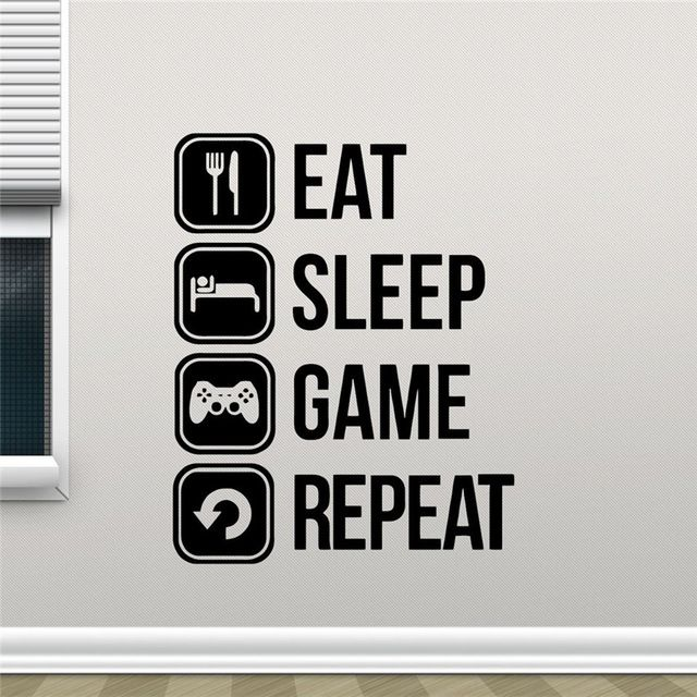 Image Result For Eat Sleep Game Repeat Wall Sticker Gaming Wall Art Kids Room Wall Decor Vinyl Wall Stickers