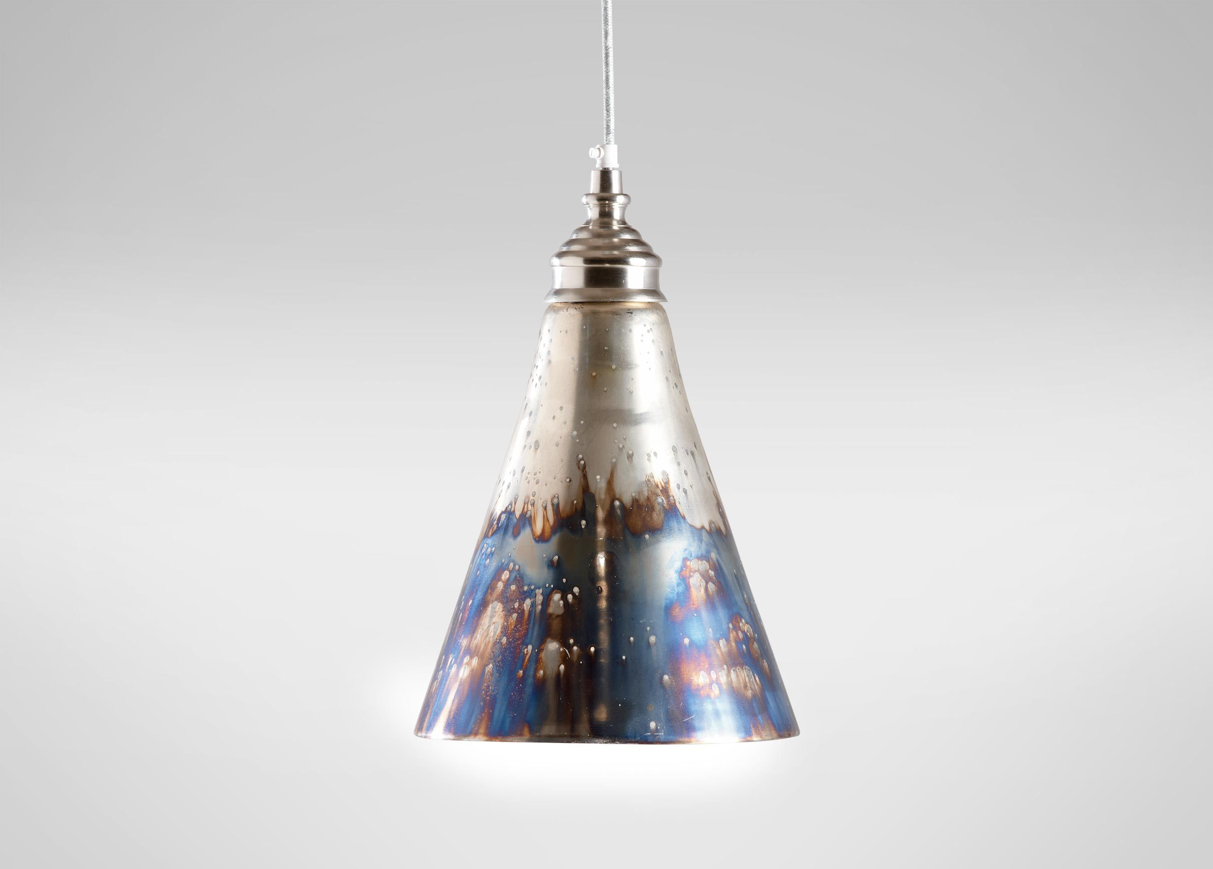 patterned heavy bubble glass light pendant