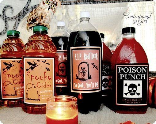Kid Friendly Halloween Drink Labels