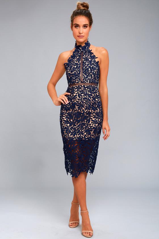 a51cb87fdc188 Divine Destiny Navy Blue Lace Midi Dress | Cali Shore Ceremony ...