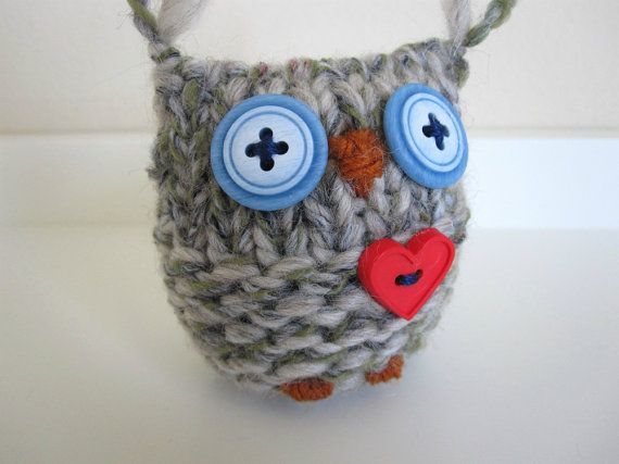 Owl Knitted Merino Wool Love Owl by WoodsyWools on Etsy, $23.00