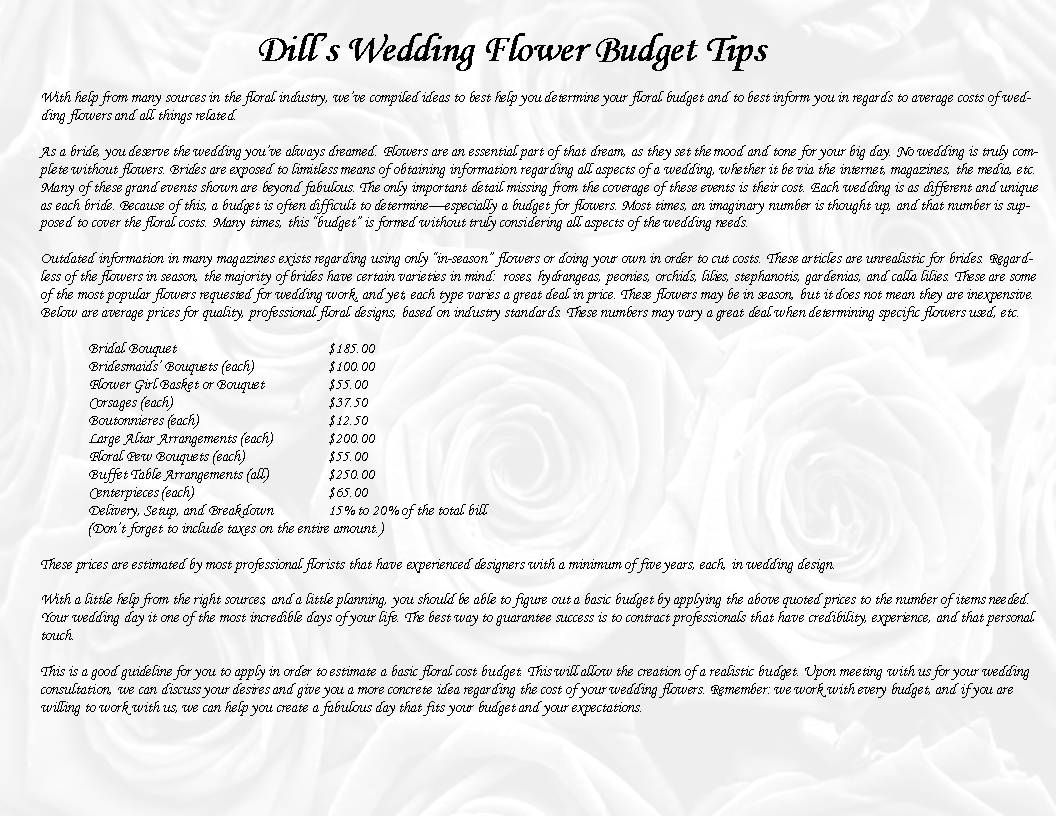 Dills wedding flower budget guideline a full breakdown of dills wedding flower budget guideline a full breakdown of average costs per item junglespirit Choice Image