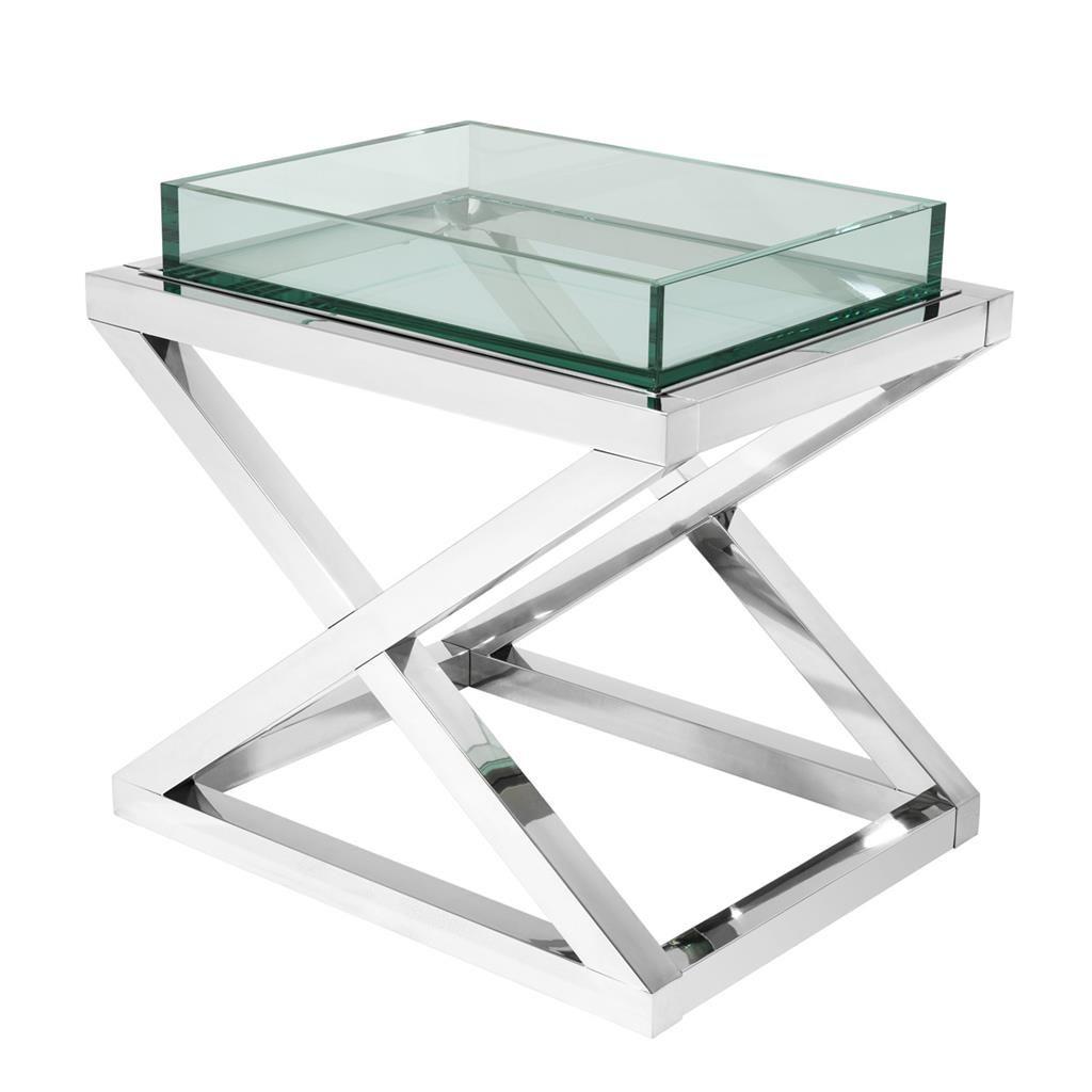 Eichholtz Beistelltisch Curtis Beistelltisch Glas Tischplatte Design Tisch