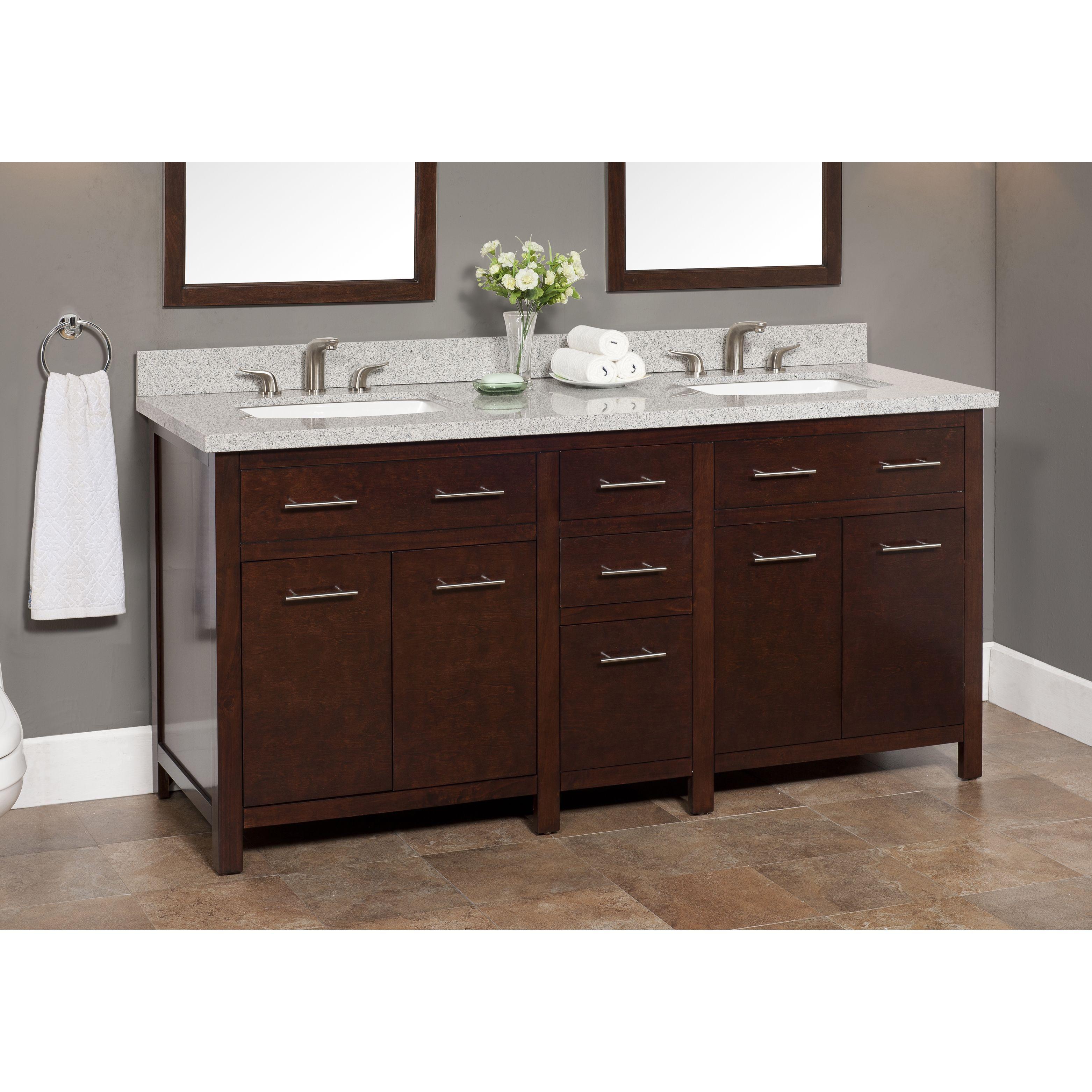 Blanco 72 Inch Granite Double Sink Vanity With Backsplash