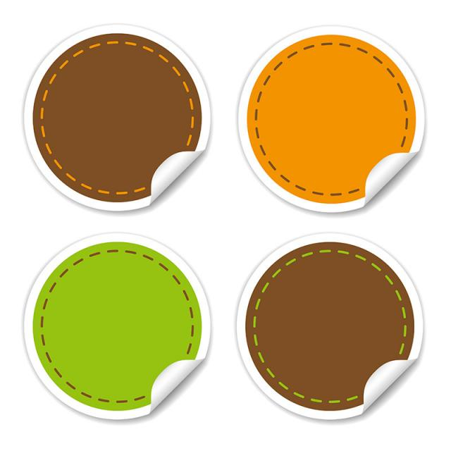 Round Stickers In Different Colors Vector Collections Vector And Png Lencana Spanduk Stiker