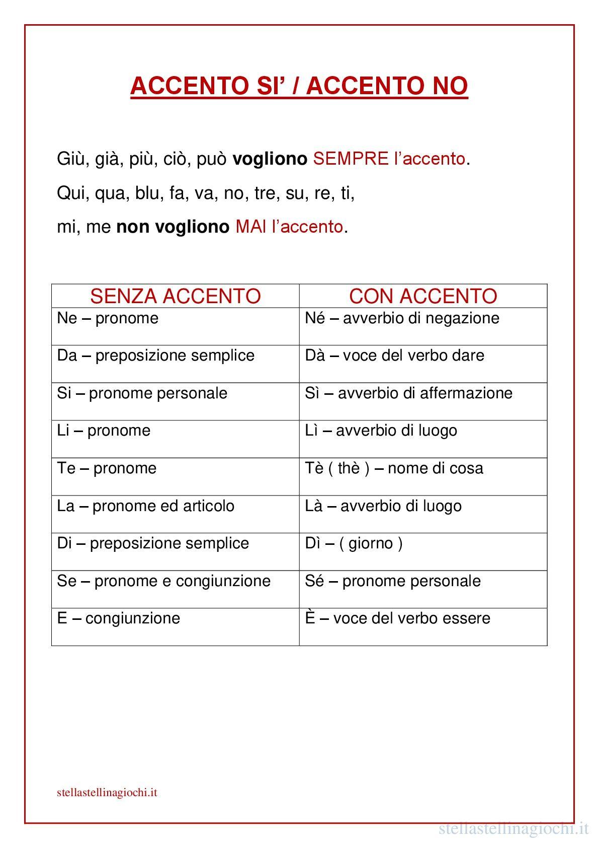 Schede Didattiche Di Italiano Accento Sì Accento No Sul Blog