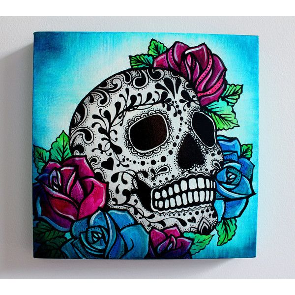 Sugar Skull Screen Print and Painting on Canvas- 12 x 12 x 1 inch ...