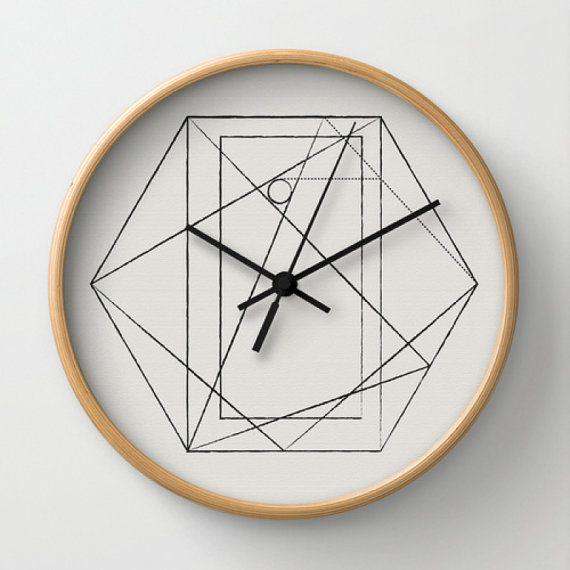 horloge murale avec imprimé géométrique à six pans creux