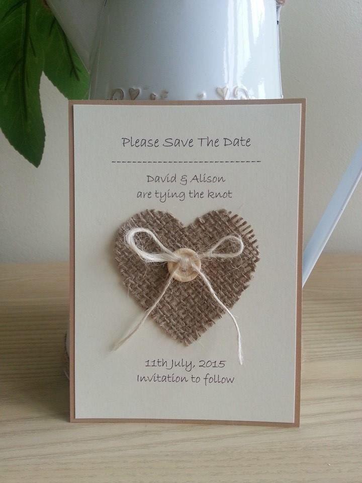 10 x Handmade Hessian Heart Save The Date cards Wedding Stationery ...