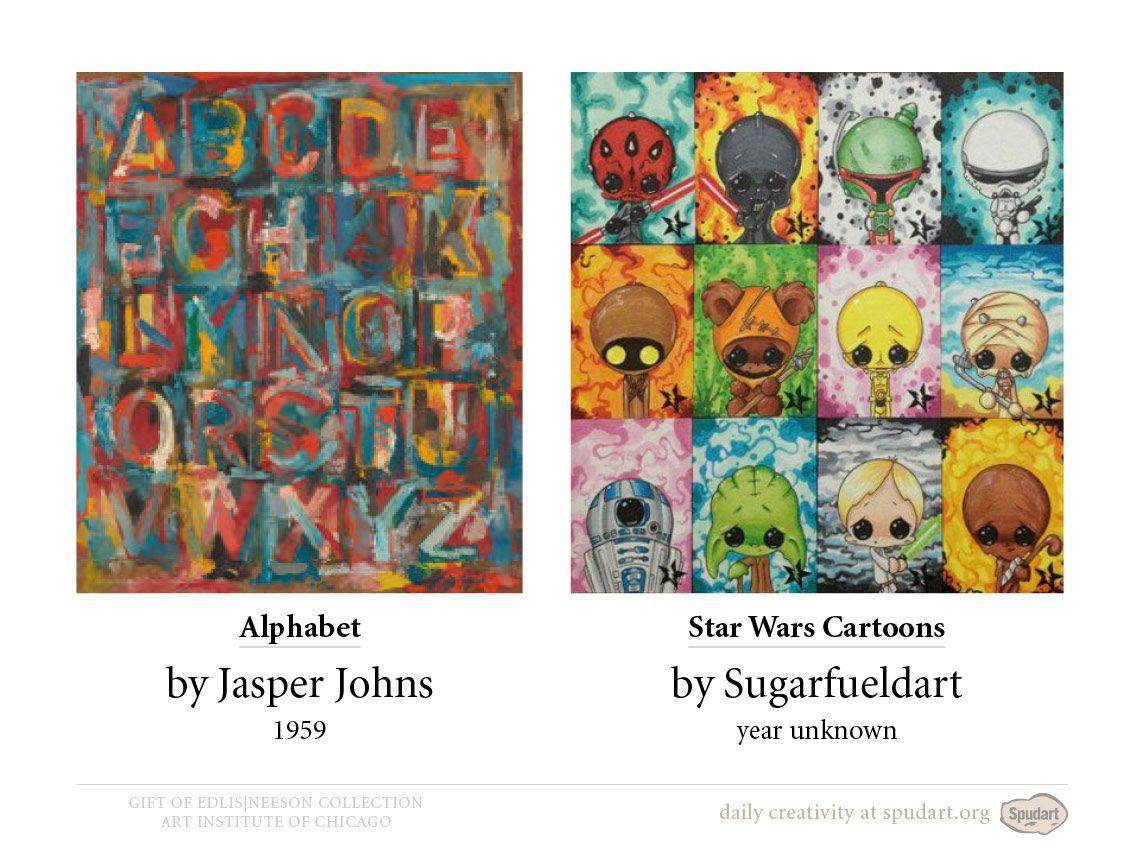Alphabet, 1959 by Jasper Johns •Star Wars cartoons by Sugarfueledart #starwars #jasperjohns #alphabet #cartoons