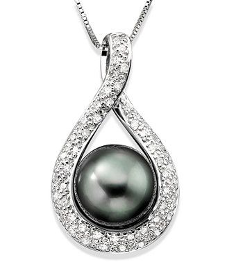Cultured Tahitian Pearl (9mm) and Diamond (1/4 ct. t.w) Pendant Necklace in 14k White Gold - Necklaces - Jewelry & Watches - Macy's