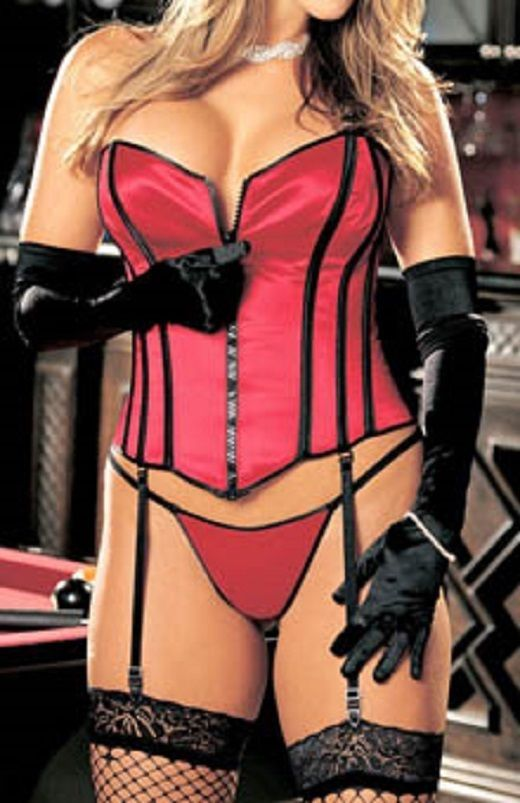 cbda36f9bdc Cheekyfun Sexy Clothing Crimson Red Corset by Shirley Of Hollywood Lightly  boned hook eye front laced