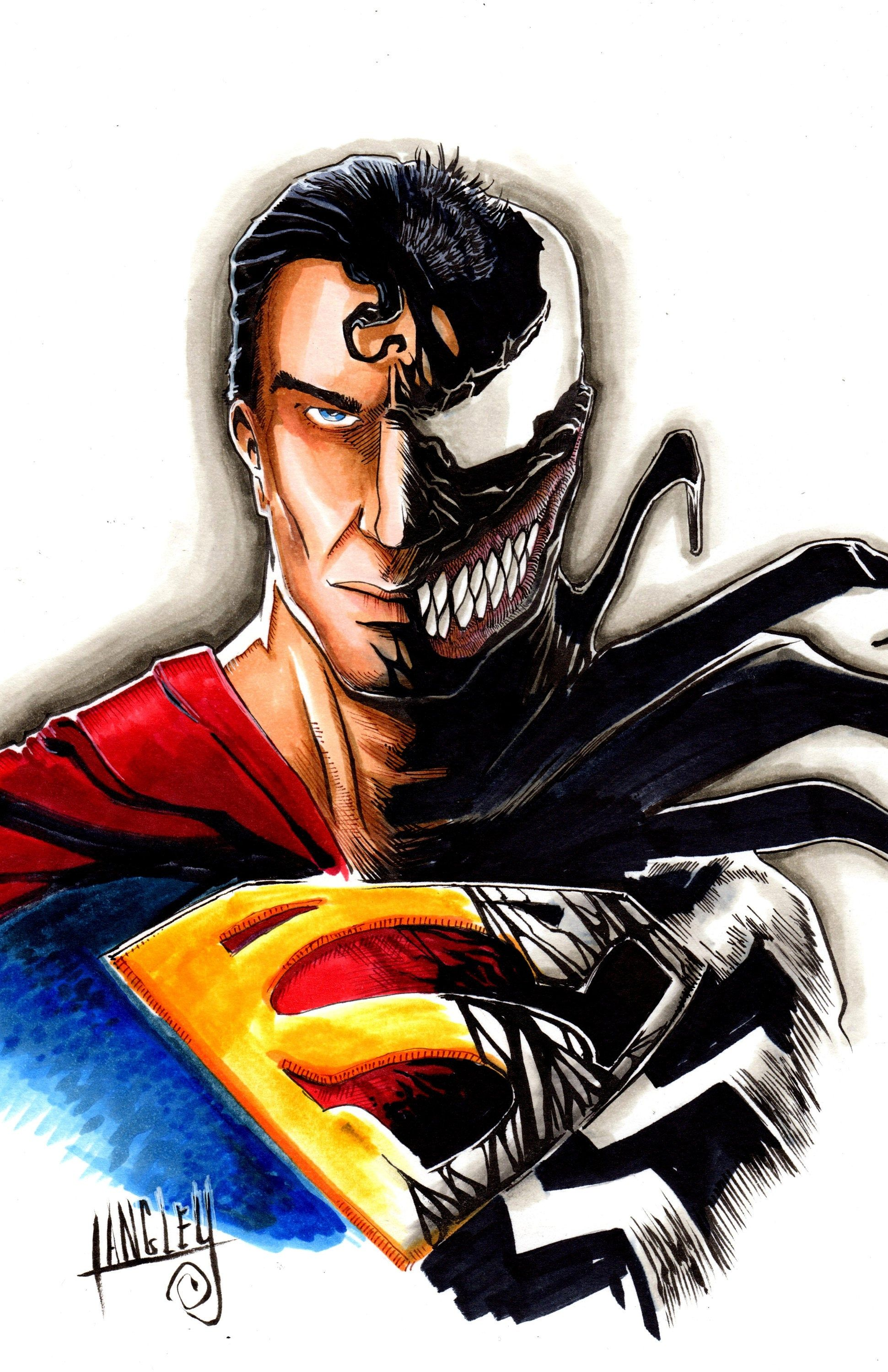 Venom Superman Mashup Signed 11x17 Art Print Etsy Dc Comics Artwork Comic Art Comics Artwork