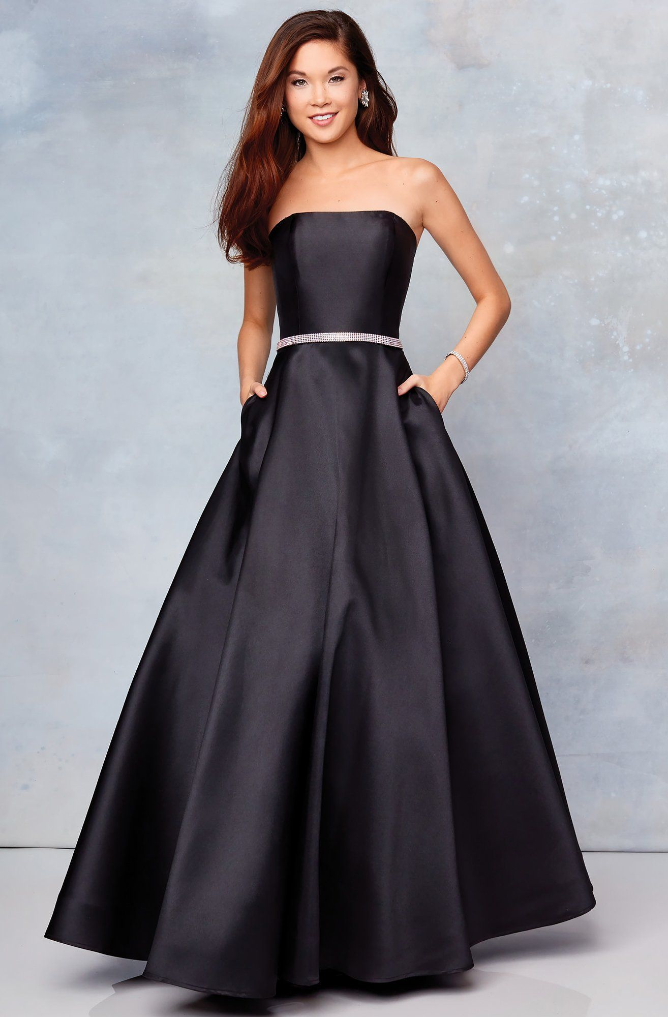 Clarisse 3739 strapless embellished belt mikado prom