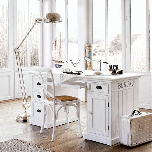 bureau en pin blanc l 150 cm bureau en bois maison du. Black Bedroom Furniture Sets. Home Design Ideas