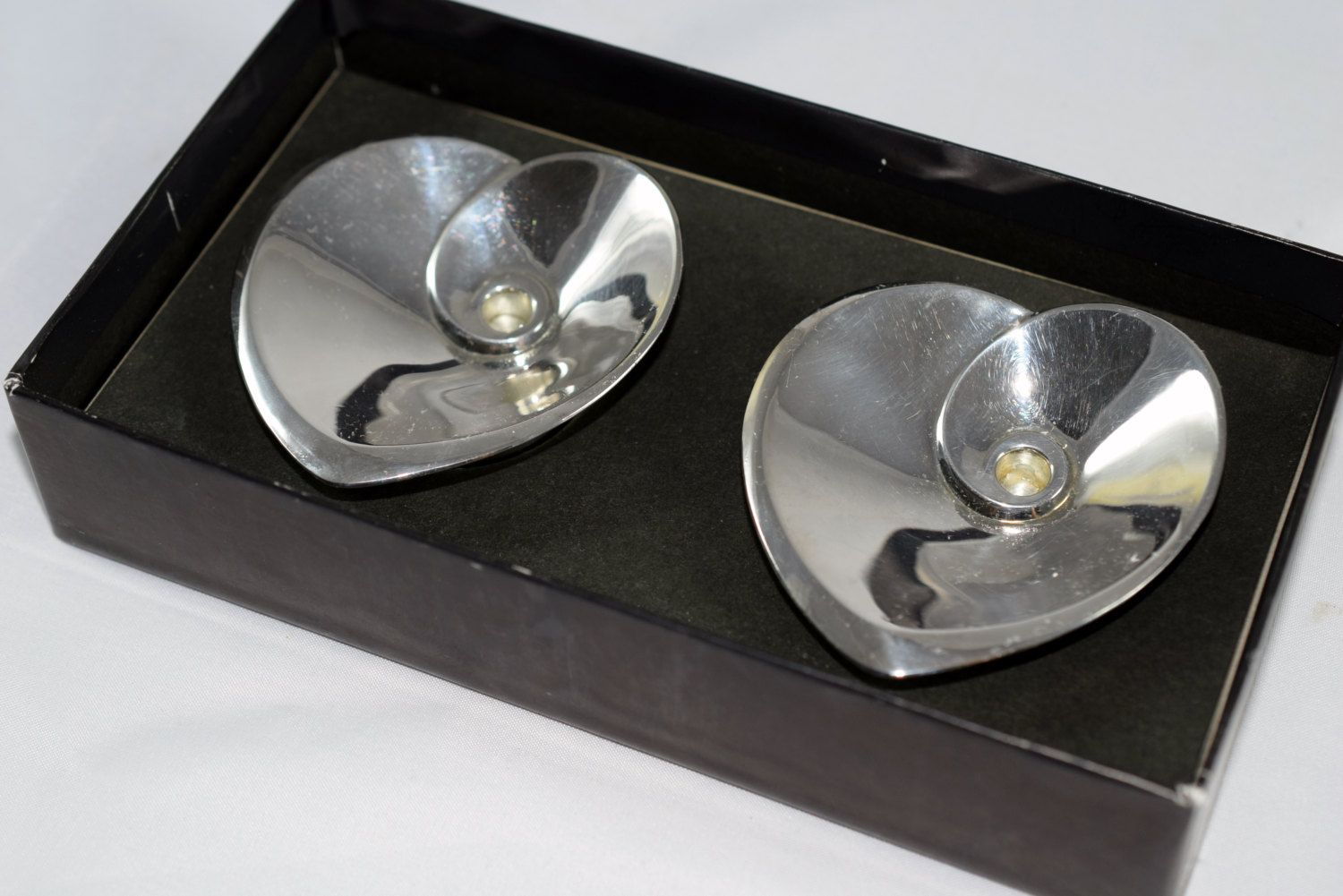DANSK Silver Plate Hearts Tiny Taper Candle Holders Designed by Vivianna Torun Bulow-Hube, Made in Japan by TheTreasureBoxOrna on Etsy