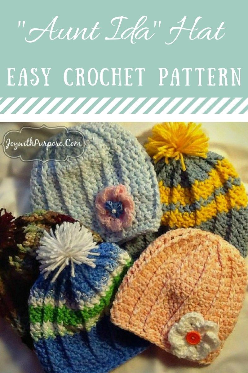 The Aunt Ida Hat   Free  Crochet  Pattern Can be made in sizes toddler  through adult.  Easy for Beginners. JOYwithPurpose.com 05fc98f14e5