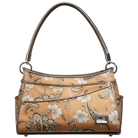 Sophisticated Lady (Tan Paisley) || Dimensions: 12.5″ L x 5″ W x 8.25″ H - Strap Length: 8.5″ - Opening: 5″ - Trim Colors: Charcoal, Platinum - SRP: $105.00 - Available In: Blue Paisley, Tan Paisley