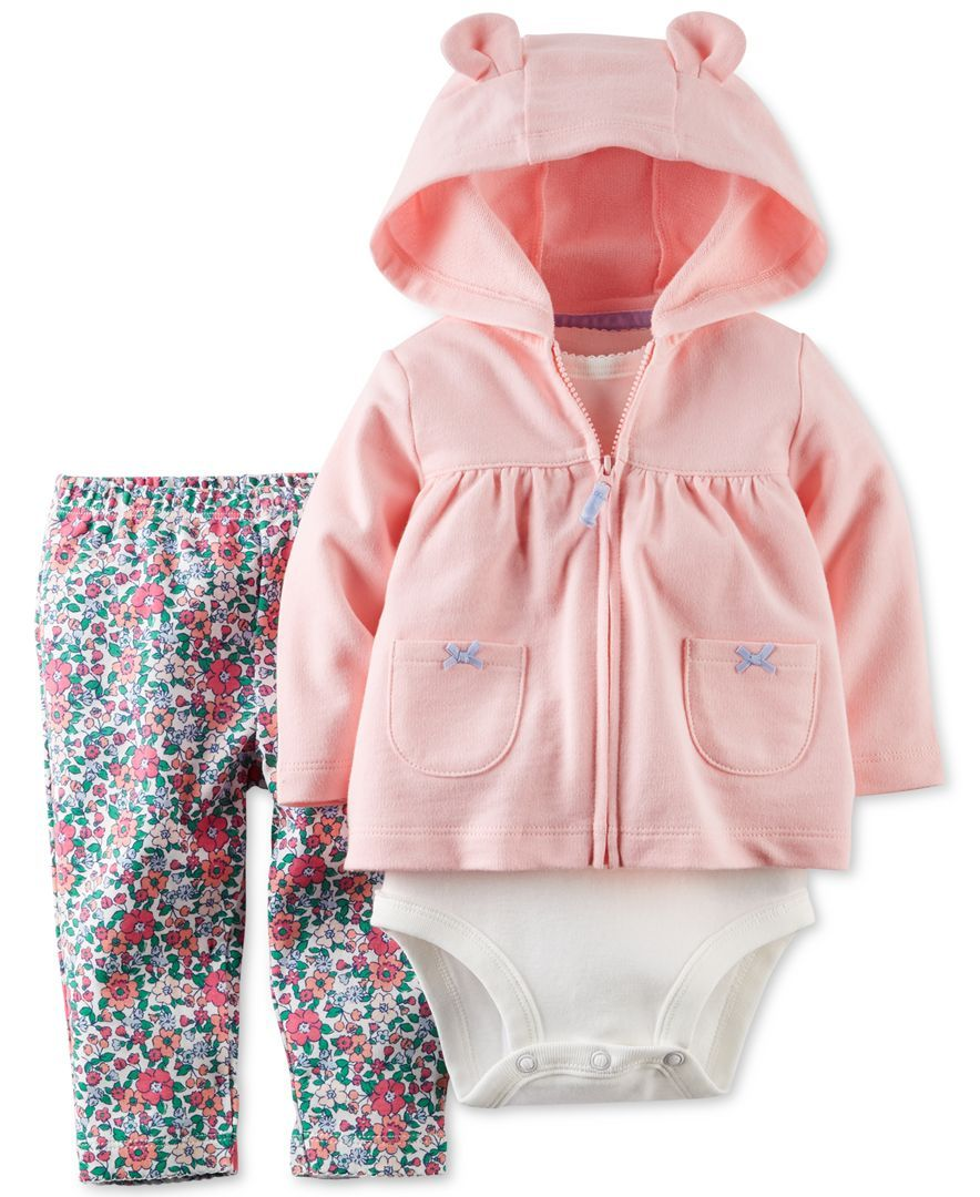Baby Girl Clothes Floral Hoodie Pocket Bodysuit Romper Long Sleeves Outfit Clothing Set