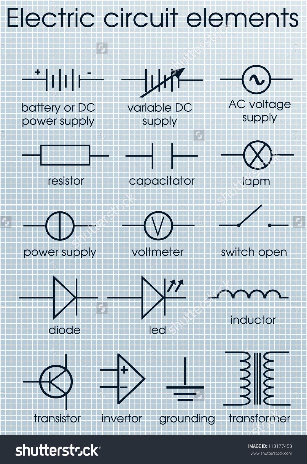 Electric Circuit Symbol Element Set 스톡 벡터 일러스트레이션 ...