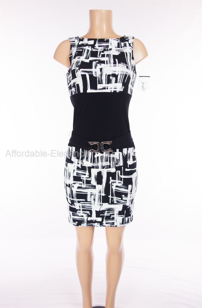 Black and white abstract dress