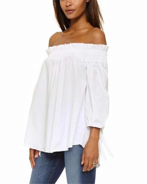 57630eadeb3 Women's Plus Size Off shoulder 3/4 Sleeve Loose Long Tops Blouse Shirt -  White - C012FO47AK5,Women's Clothing, Tops & Tees, Blouses & Button-Down  Shirts ...