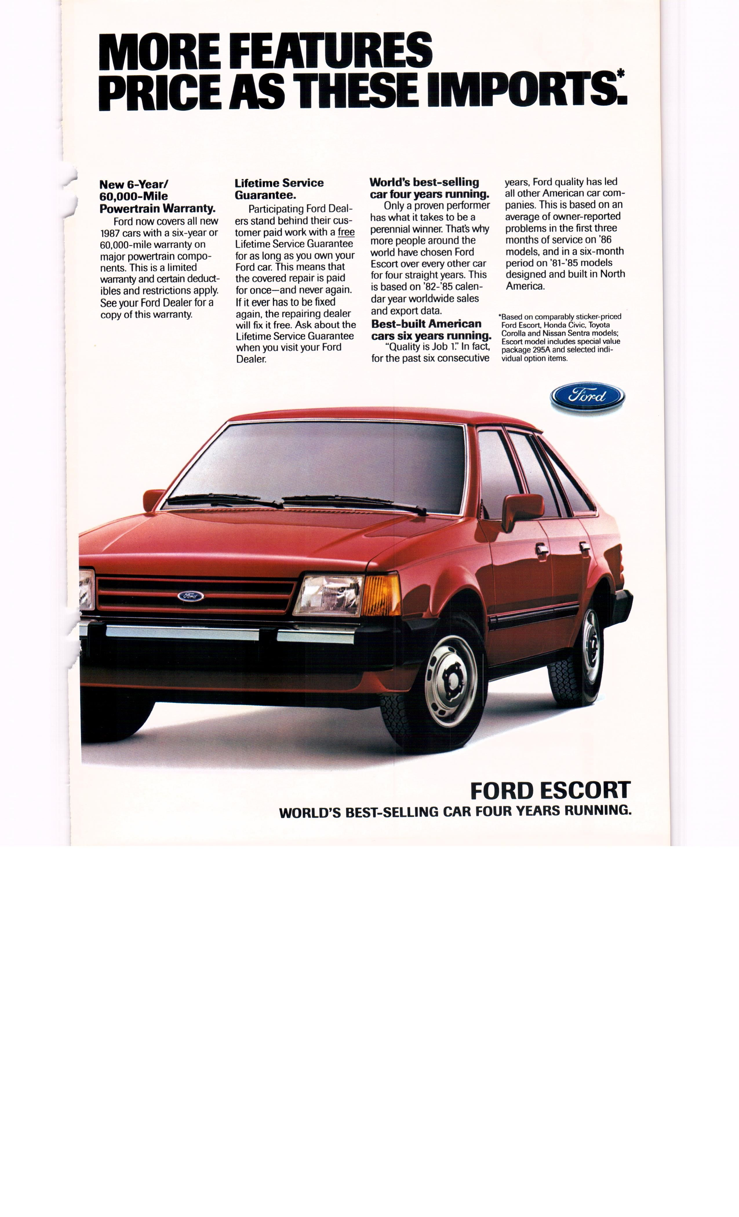 1987 ford escort ad 2 - national geographic april 1987 | vintage