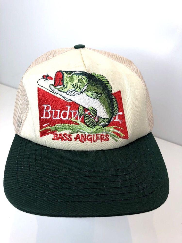4bbf6a22734 Vintage Budweiser  Bass Aangler  late 90 s Fishing Hat Trucker Mesh  Snapback Hat  Budweiser  MeshTrucker