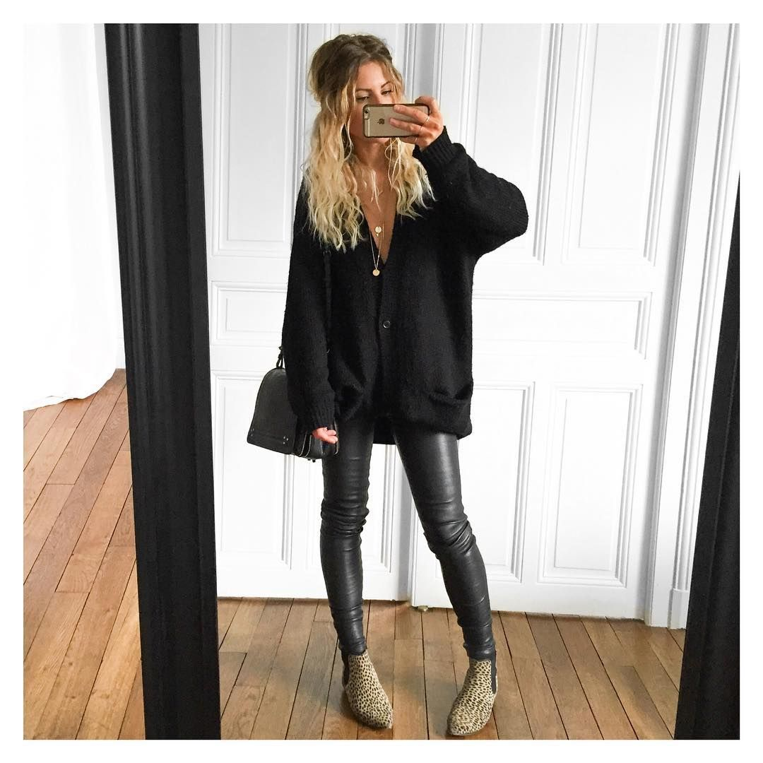 Leather pant Samsoe, Boots Isabel Marant, Bag Jerome ...