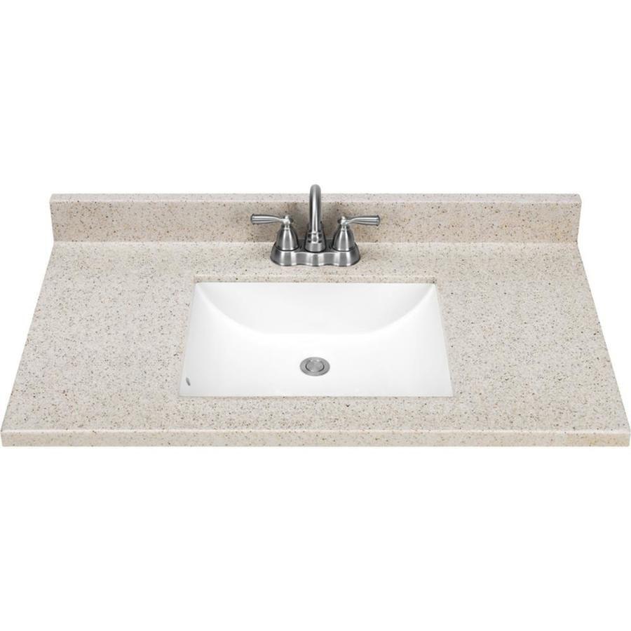Dune Solid Surface Integral Bathroom Vanity Top Common 37 In X