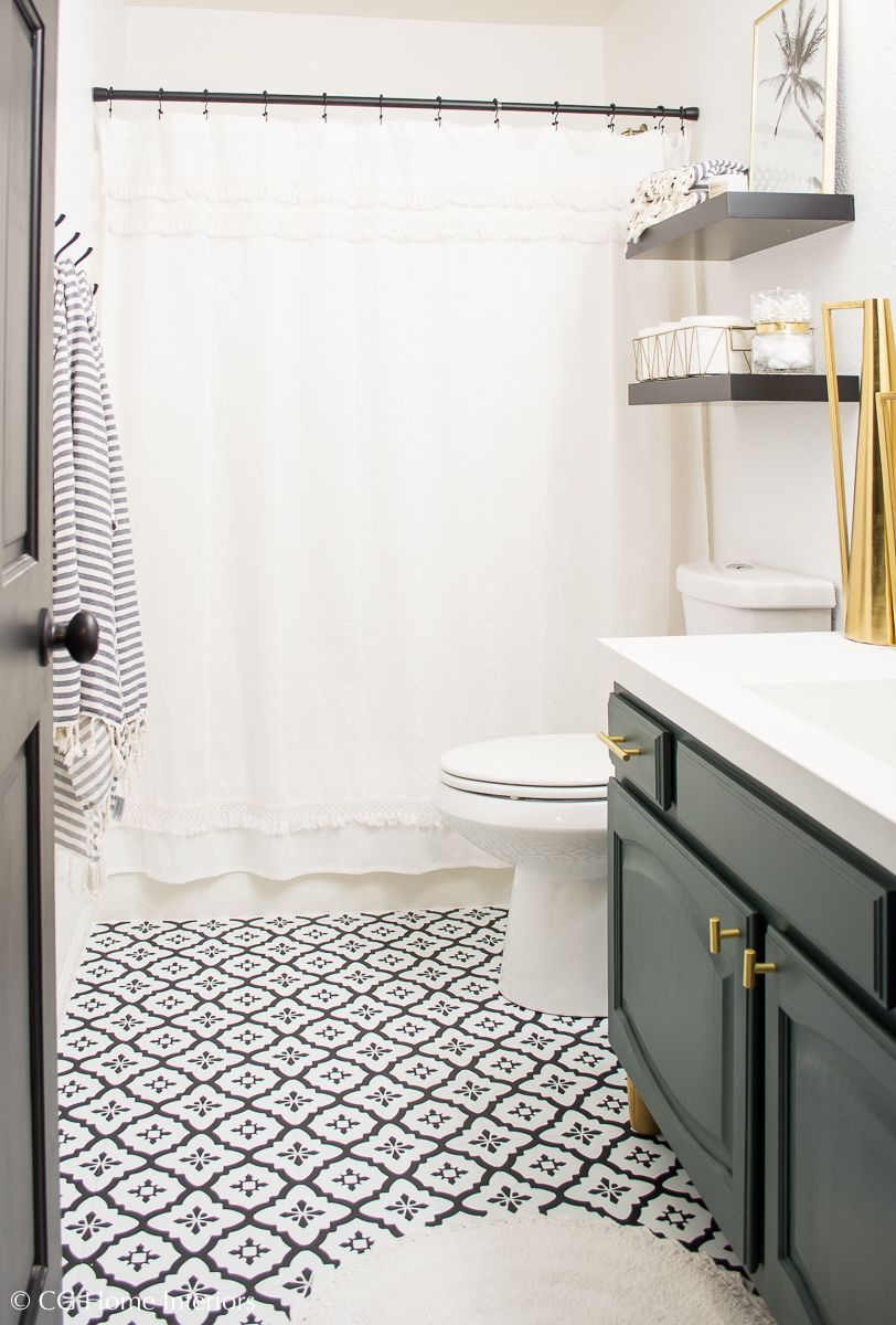 Modern Guest Bathroom Renovation On A Budget One Room Challenge Reveal Best Bathroom Flooring Guest Bathroom Renovation Bathroom Renovation Diy