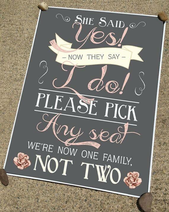 Wedding Ceremony Sign Seating Sign Pick A Seat Not A Side