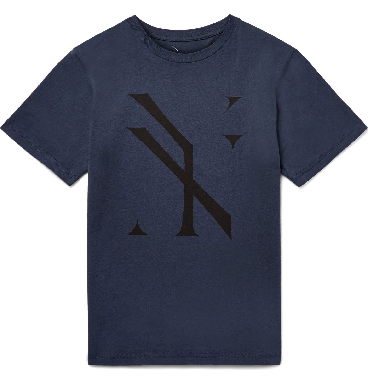 <a href='http://www.mrporter.com/en-us/mens/designers/Saturdays_NYC'>Saturdays NYC</a> specialises in logo-print T-shirts, issuing a bevy of new designs each season. This storm-blue cotton-jersey piece is emblazoned with a 'blown out' motif that riffs on the effects of exposure in photography. Try yours layered under a plaid shirt with similar hues.
