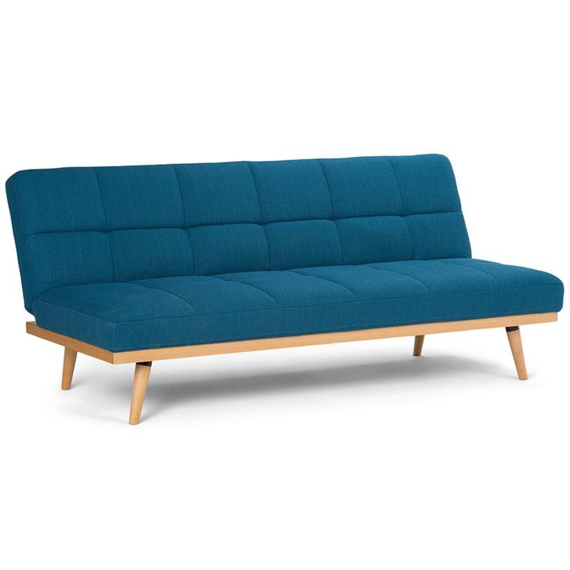 Simpli Home Spencer Sleeper Sofa In Mediterranean Blue In 2020 Fabric Sofa Bed Simpli Home Sofa Bed