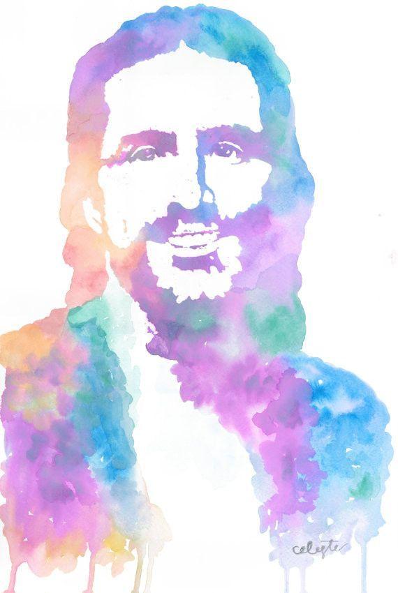 Jesus christ the savior cool tones savior watercolor for Cool watercolour