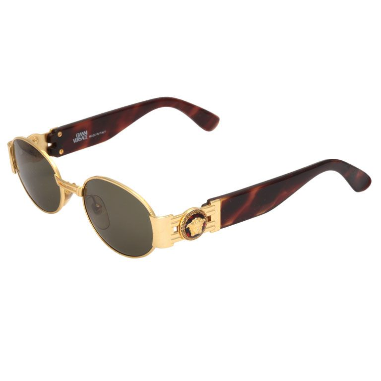 50a2e92592f Gold Frame Sunglasses Vintage Versace Look