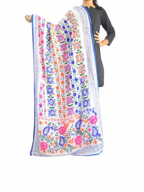 Phulkari Work Georgette Dupatta White With Flowers Giftpipercom