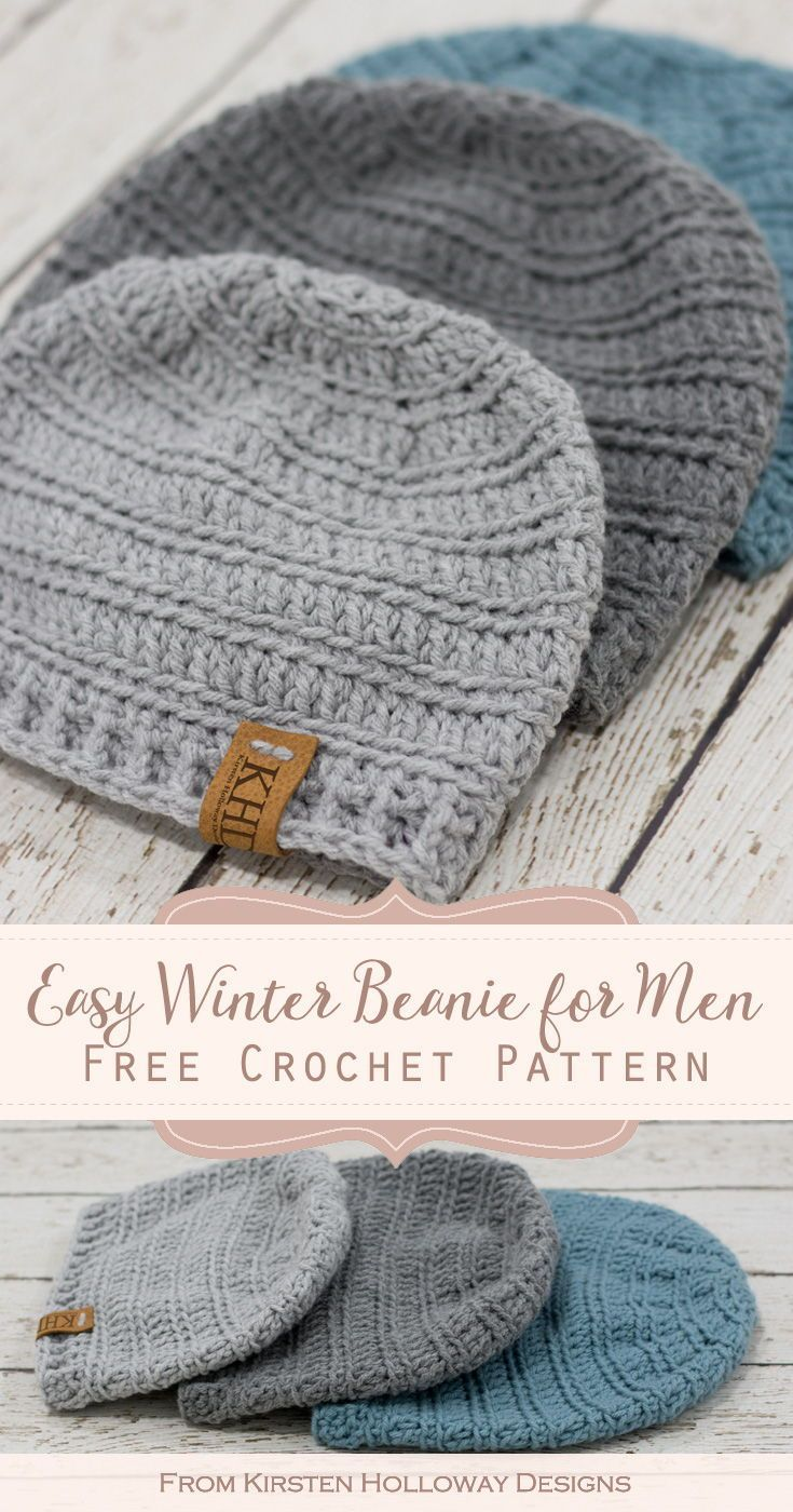 This quick, easy winter hat uses basic stitches to create a simple, but pleasing texture. The pattern comes in 4 sizes and has several finishing options to choose from including earflaps, and a pom-pom. #freecrochetpatterns #crochethatpatternsformen #kirstenhollowaydesigns