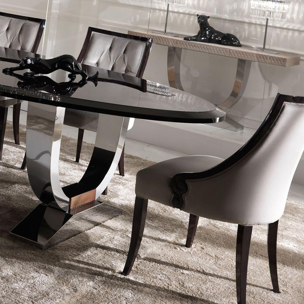 Italian Black Lacquered Chrome Dining Set