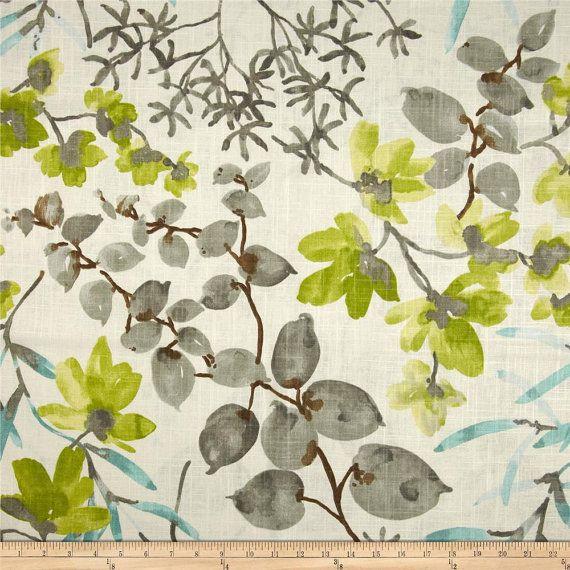 Modern Grey Fabric Aqua Gray Lime Floral Curtain Fabric