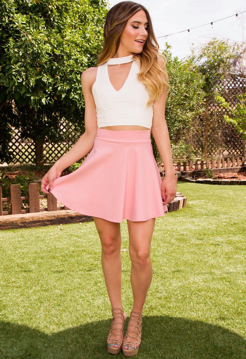 She Says Skater Skirt - Blush