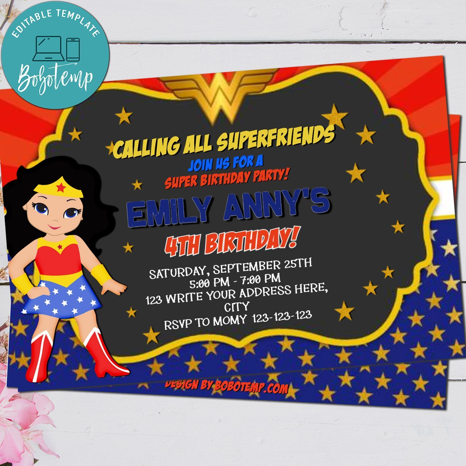 Wonder Woman Cartoon Party Invitation Printable - Personalize Your