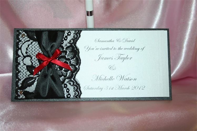 White And Red Wedding Invitations: Wedding Invitation Black, White And Red