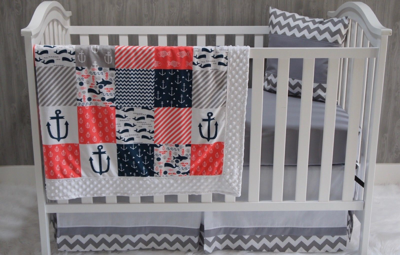 Custom Made Baby Nursery Bedding Shark Sea C Anchor Nautical