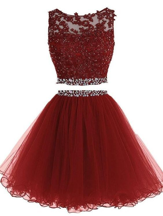 2016 Custom Charming Wine Red Beading Homecoming Dress Two Pieces Prom Dress Tulle Short H Two Piece Homecoming Dress Homecoming Dresses Short Piece Prom Dress