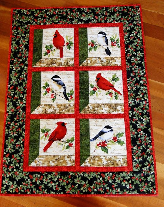 Cardinals and Chickadees Winter Birds Quilted by thebeadedpillow ... : quilts with birds - Adamdwight.com