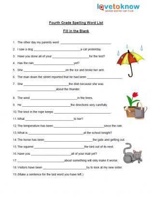 Fourth Grade Spelling Fill In The Blanks Spelling Worksheets Grade Spelling Spelling Word List Free grammar worksheet 4th grade